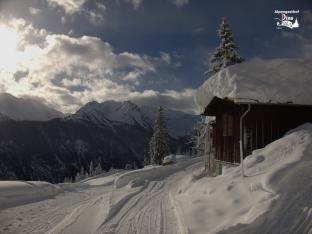 Holzschupfen v Schnee